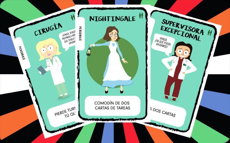 """Por ejemplo, la """"Especialista en Cirugía"""" hará que pierda turno quien tú quieras, la """"Supervisora Excepcional"""" te permitirá robar dos cartas e incluso puedes encontrarte con ¡la mismísima """"Florence Nightingale"""" que te servirá como comodín de dos cartas de tarea!"""