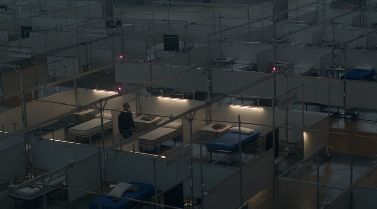 Still of improvised hospital station for COVID 19 Patients, March 2020