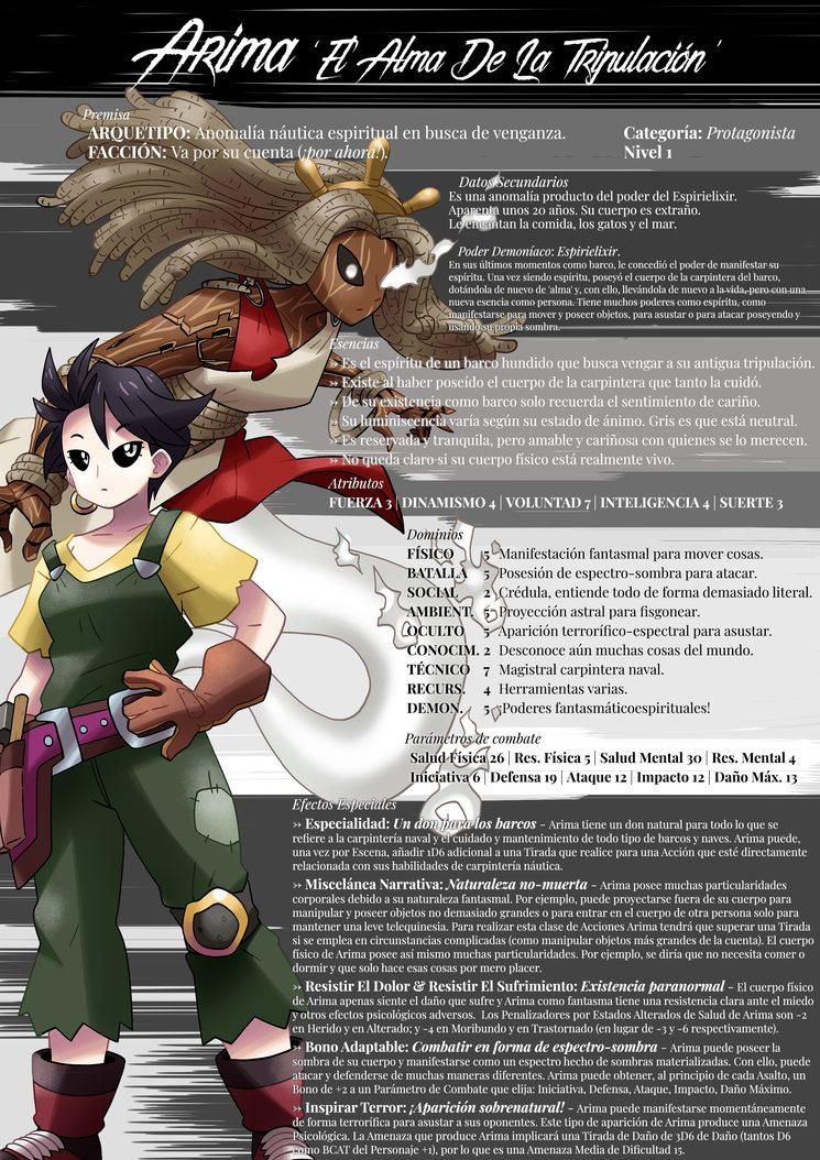 ¡Ficha artística de Arima, la ganadora de nuestro concurso de personajes! Ilustrada por Onofre Marín González.