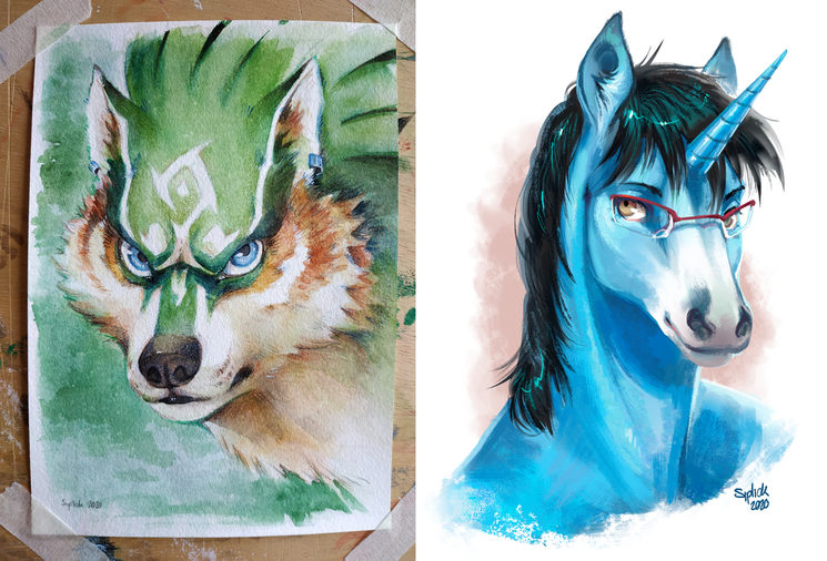 Watercolors (left) / Digital (right)