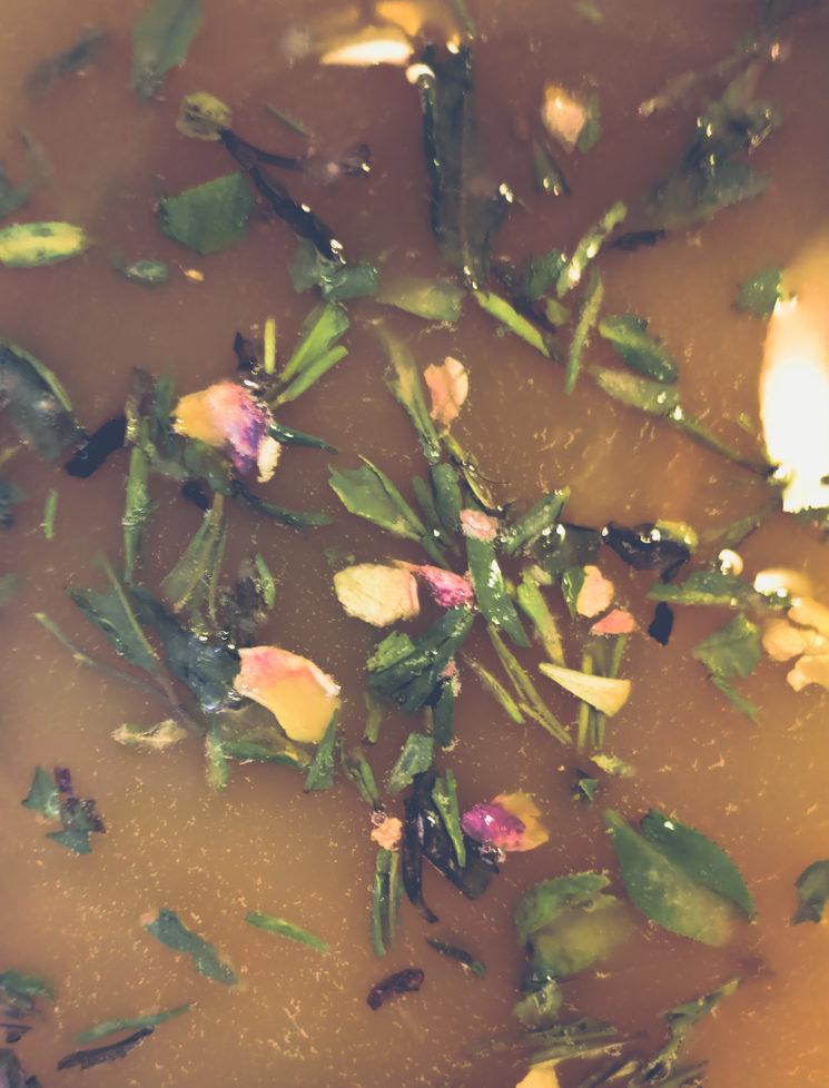 Primera mezcla de flores.