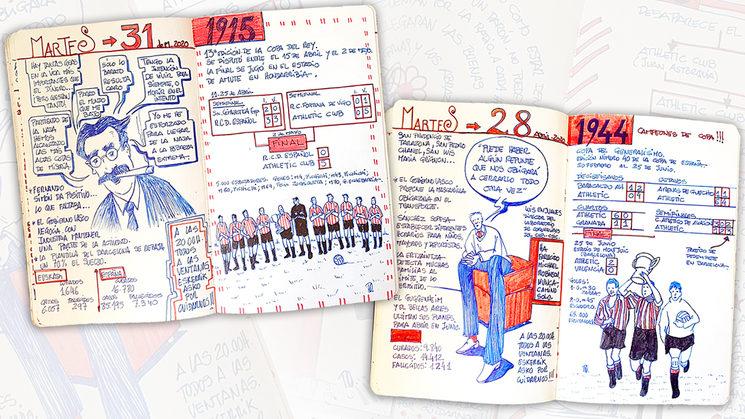 """Algunas de las páginas interiores del """"DIARIO ILUSTRADO DEL CONFINAMIENTO DE UN ATHLETICZALE"""""""