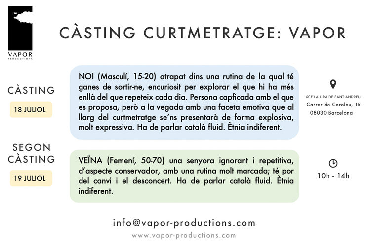 Imatge informativa del càsting de Vapor