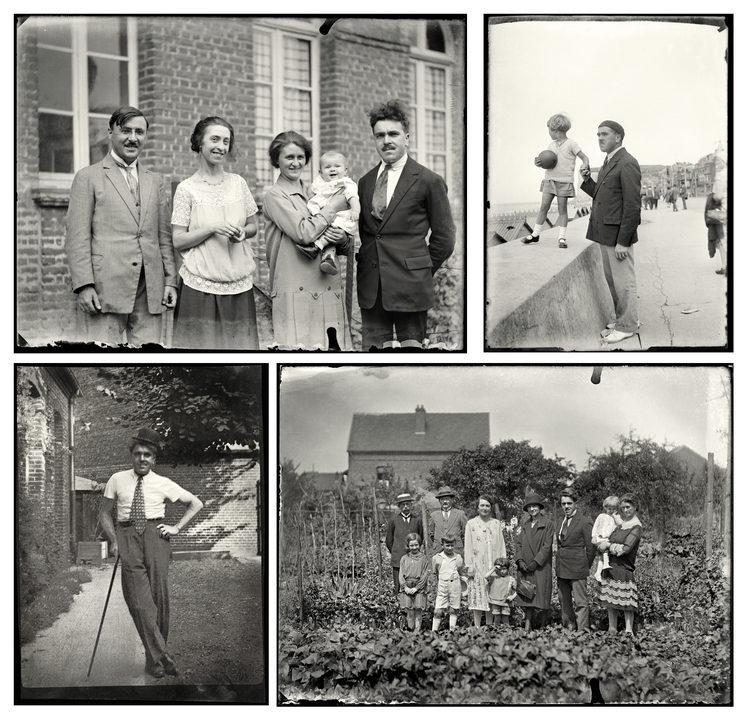 ↑ ← Nacimiento de Françoise. Mondicourt, 1926 ...  ↑ → En el muelle de Mers-les-Bains, 1930 ... ↓ ← Disfrazado de Charlot. Mondicourt, 1935 ... ↓ → Grupo en el huerto. Mondicourt, 1929