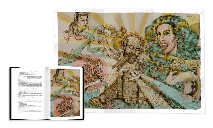 Vista de ilustración en página y desplegable de 9 cuerpos, por Álvaro Dorda