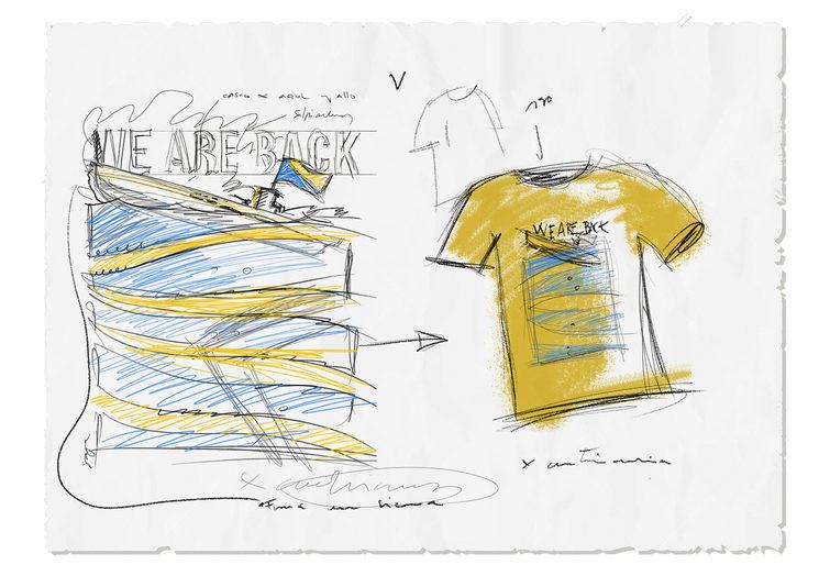 Primer boceto ilustración y camiseta