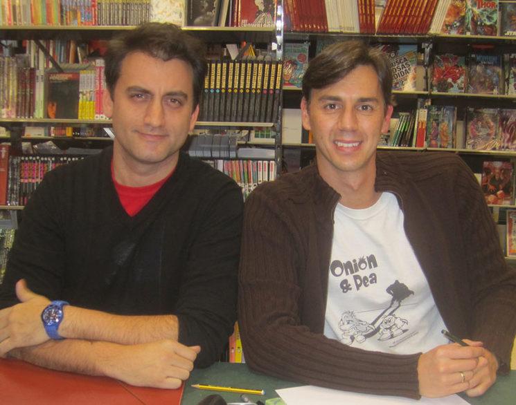 David Tomaselli y Jose Villena durante la presentación de su primer cómic en Comic Stores Málaga.