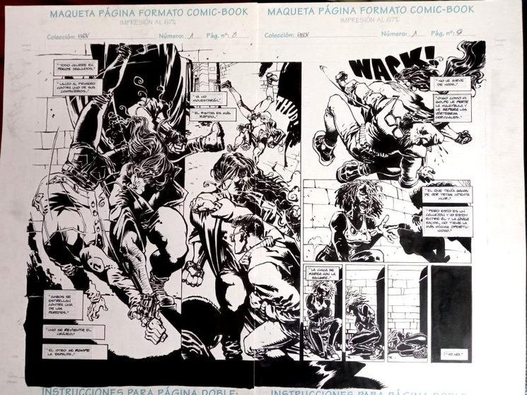 """Página doble (8 y 9) del número 1 de la serie original """"El Baile del Vampiro"""" editada por Planeta DeAgostini."""