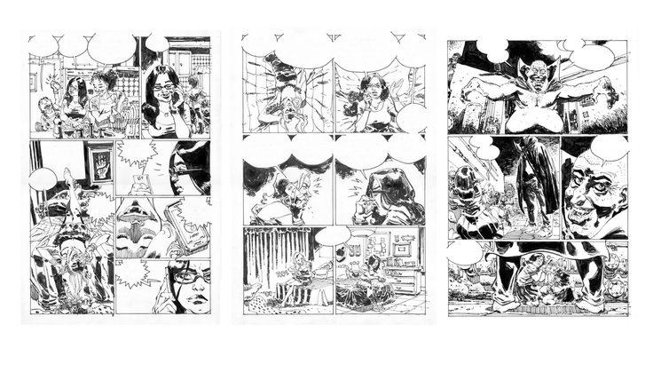 Páginas originales (8, 9 y 19) del cómic REDES.