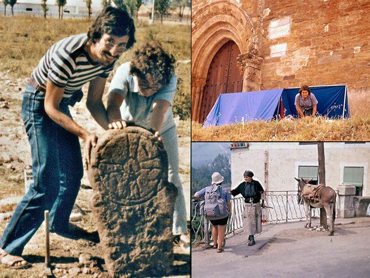 De izquierda a derecha y de arriba a abajo, Rafael Alarcón y Mayca en la Parroquila de Renieblas.(Soria) 27-07-81; Acampada y estancia en Villafranca del Bierzo. Santiago (León) 16-08-74;
