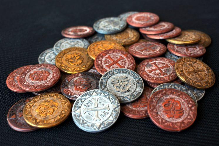 Foto real monedas envejecidas