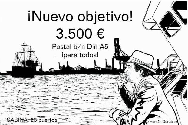 Postal b/n, Din A5, con dibujo de Hernán González