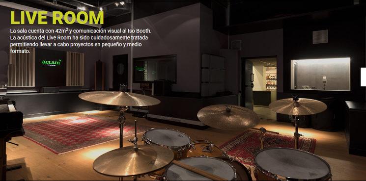 Live room en Aclam Estudio