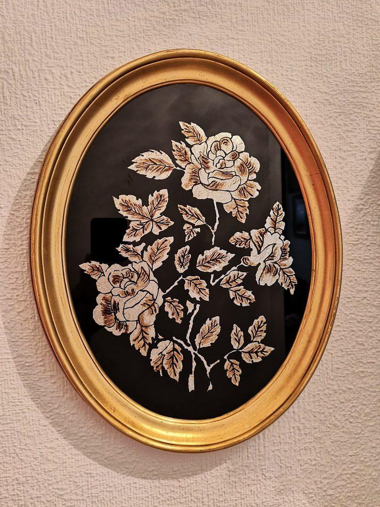 Inspiración del marco ovalado. Cuadro realizado por mi abuelita.