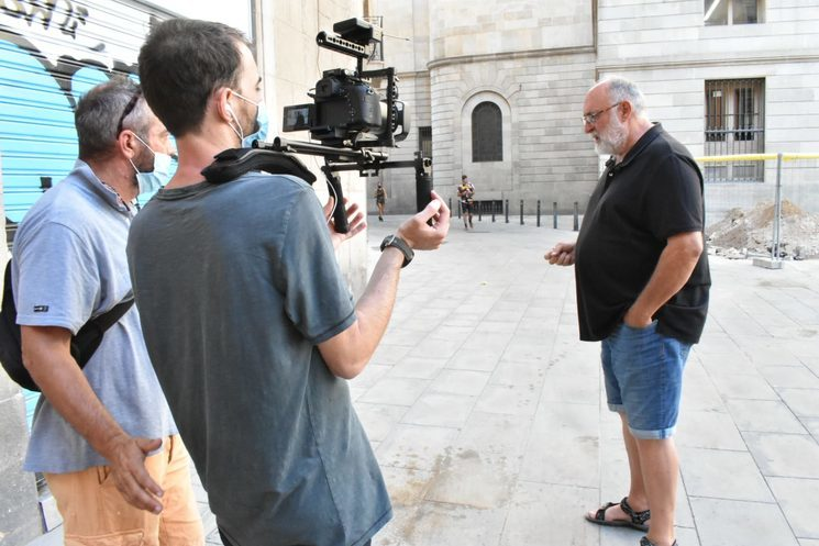 Marc Muñoz in the reconstruction of the events in Plaça Sant Miquel