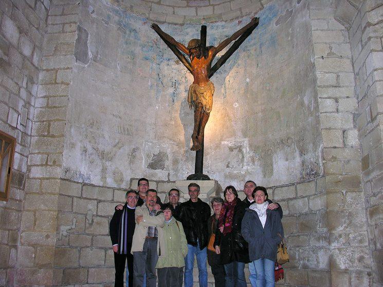 """La """"Cofradía Románica"""" del autor, bajo el signo de la """"Pata de Oca"""". Puente la Reina (Navarra). 2010."""