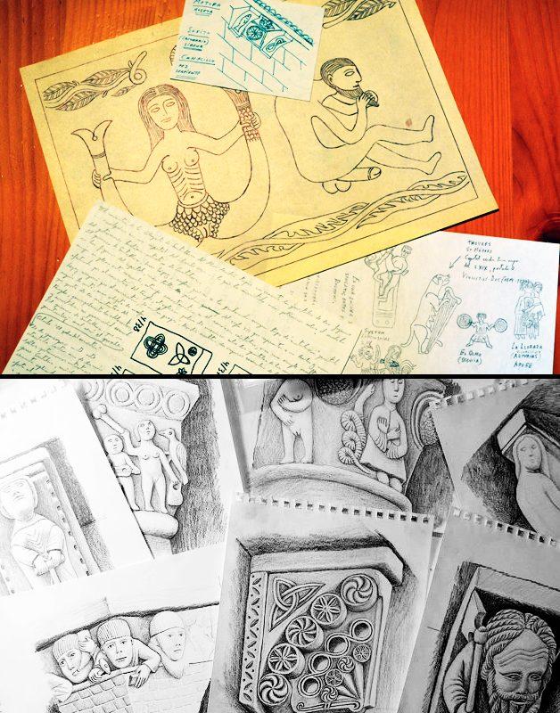 """No siempre se pueden obtener fotos, por diversos motivos y condicionantes, humanos, climáticos, legales, etc. Por ello, los """"cuadernos de campo"""" son imprescindibles. En estos el autor esboza dibujos y notas de las figuras que interesan, procurando detallar al máximo los elementos que se desean destacar.  Arriba, bocetos de Rafael Alarcón en sus cuadernos de viaje. Abajo, estudios de Patricia R. Muñoz sobre varios canecillos."""