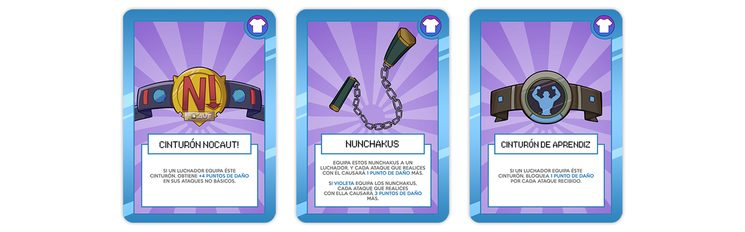 """Cartas de """"EQUIPO"""" - Son las cartas de color violeta y sirven para mejorar un luchador."""