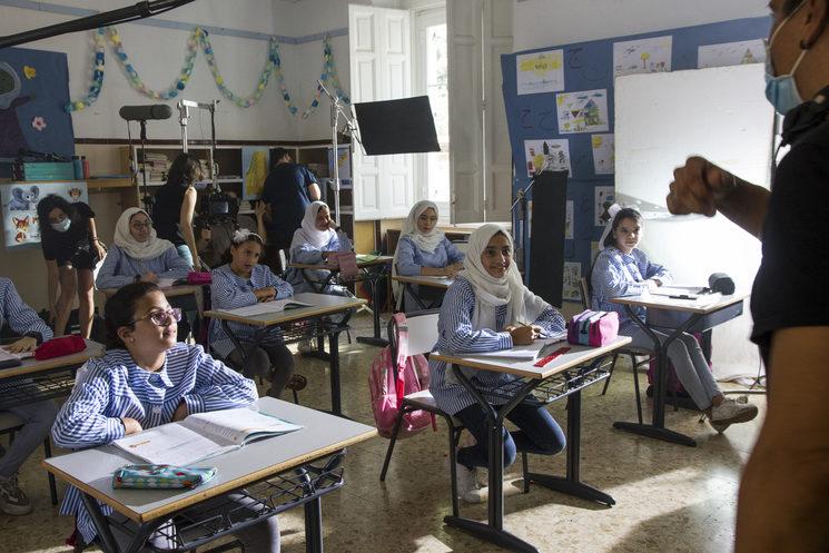 Rodaje en Madrid recreando un colegio palestino