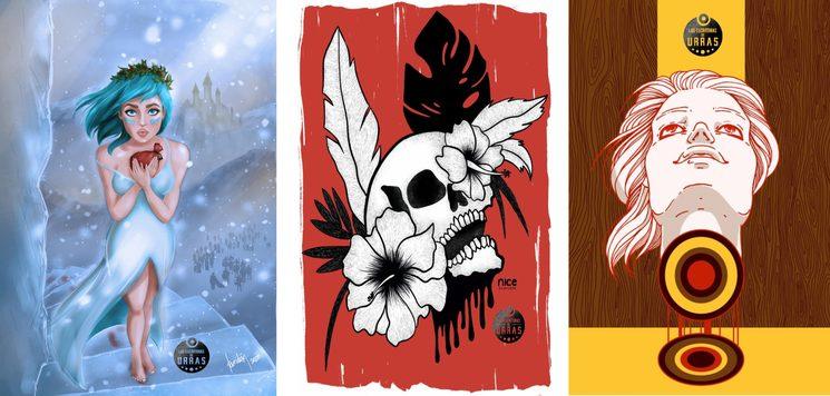 Las ilustraciones interiores inspiradas en los relatos incluidos en el podcast