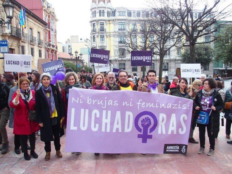 Activistas de Amnistía Internacional Asturias. Oviedo, 8 de marzo de 2020.