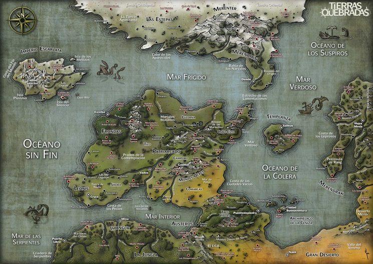 El mundo de las Tierras Quebradas. Mapa de Eneko Menica