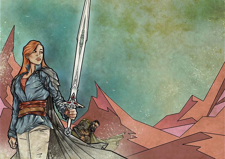 Azahara y Lobo. Ilustración de Daniel Jimbert.