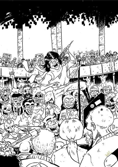 Cubierta original del **número 1** de Camilo Sexto sentido publicado por **Unrated comics** en 2018. Tamaño A4 en papel de 110 gr.