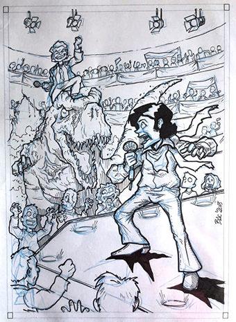 Ilustración original de **Josema Serrano** en A4 a tinta.