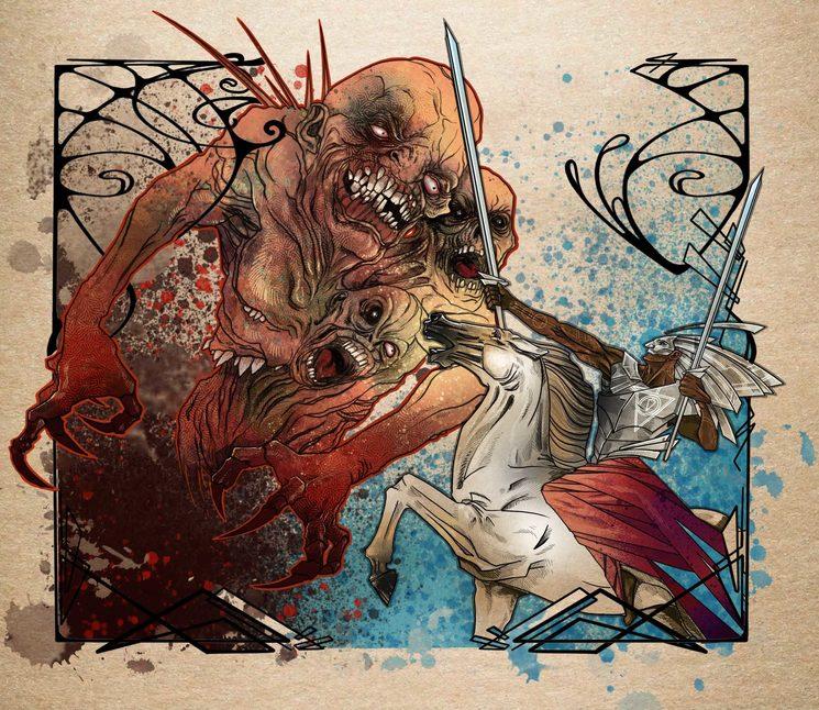 Combate contra un demonio del Caos. Ilustración de Daniel Jimbert.