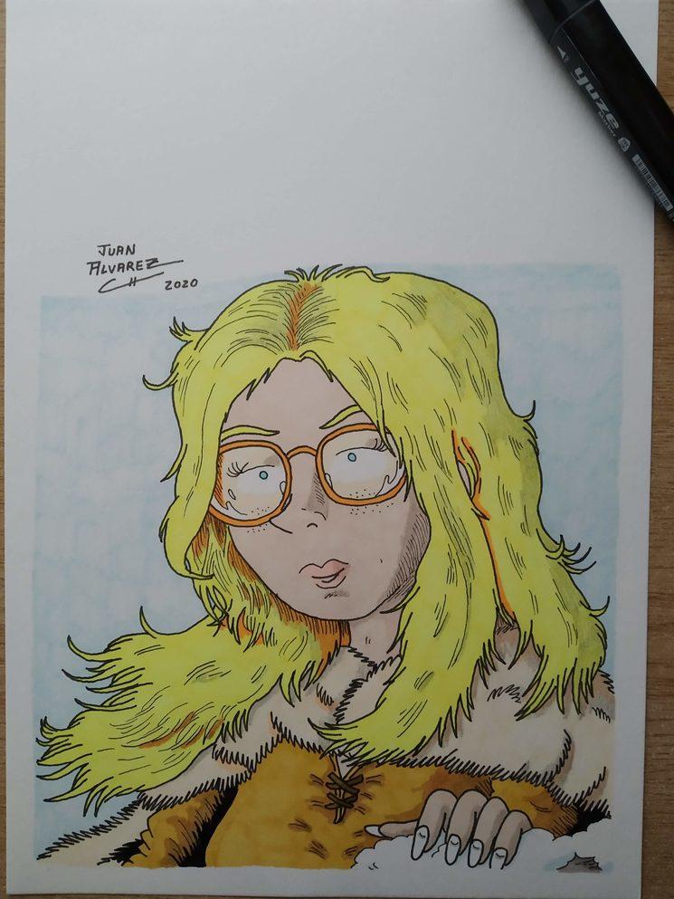 Ilustración de Rachel estilo retrato