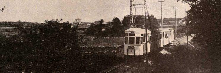 O tranvía do Val Miñor nunha foto de J. Pacheco de 1929.