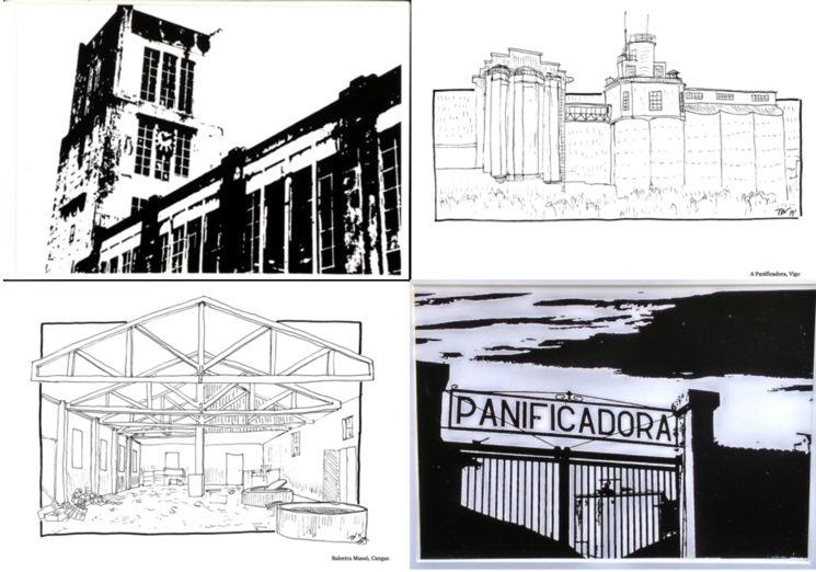 Dúas postais das series Massó e Panificadora de David Amoedo e as dúas postais da Panificadora e Baleeira Massó que se inclúen nos packs destas dúas fábricas.