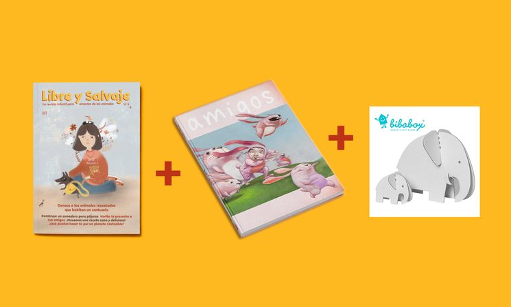 Pack Amigos: revista nº1 + libro Amigos (Roger Olmos) + elefantes cartón Bibabox.