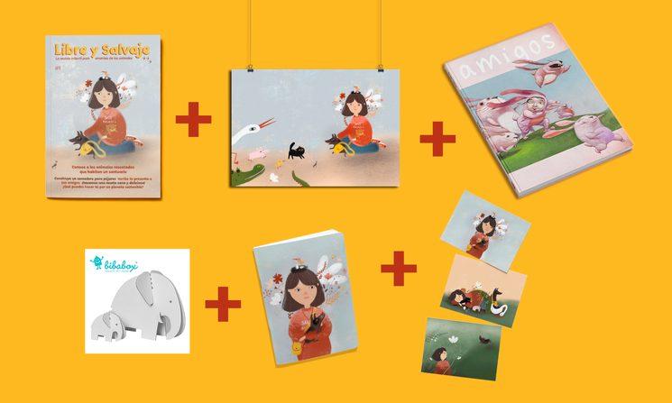 Pack Salvaje: revista nª1 + lámina + libro Amigos (Roger Olmos) + elefantes cartón (marca Bibabox) + libreta + 3 postales.