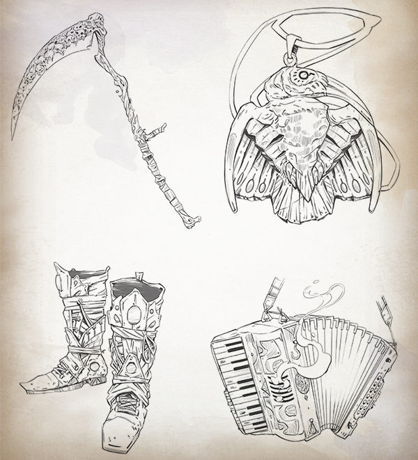 Ilustraciones a línea de los artefactos de los mecenas