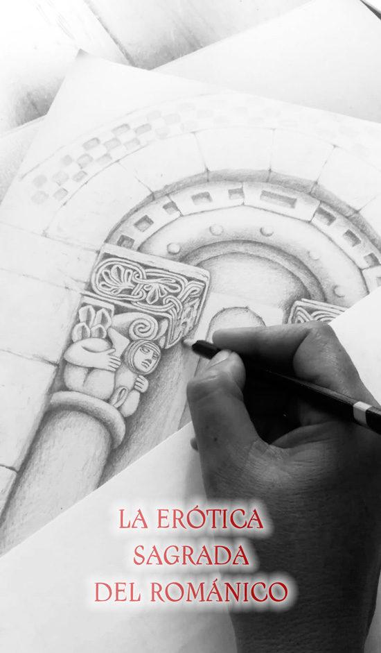Patricia dibujando la portada.