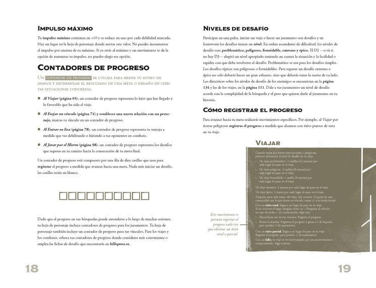 Ejemplos de las páginas interiores de Ironsworn.