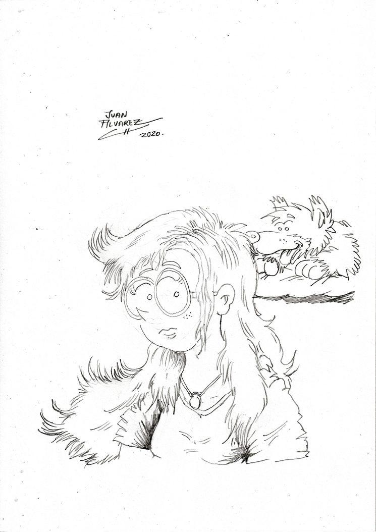 Rachel y Sombra - Ilustración a lápiz