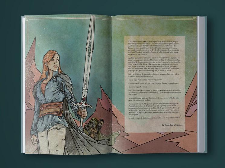 Formato de presentación de capítulos, con ilustración de Daniel Jimbert a doble página.