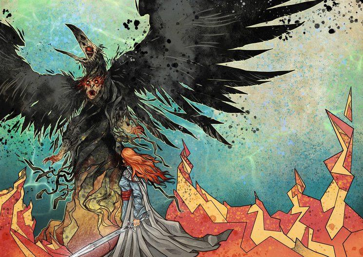 Azahara y el brujo, en plena transformación en cuervo.
