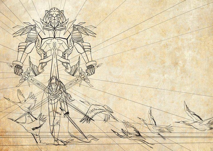 La aparición del guerrero en la playa.