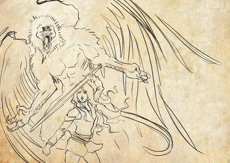 Azahara se enfrenta a un simio alado.