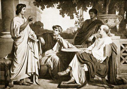 Cayo Mecenas (a la derecha, sentado) oyendo recitar a Virgilio