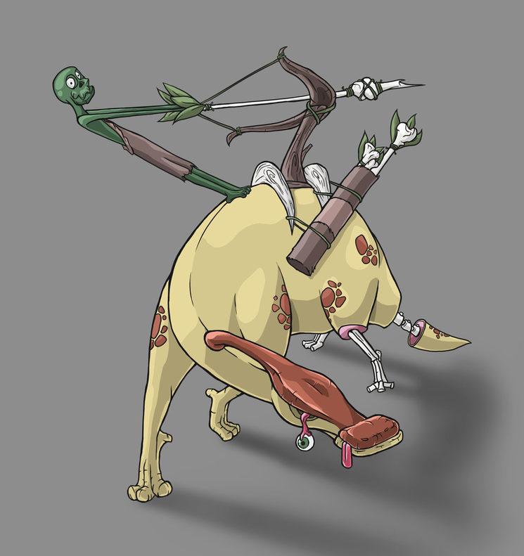 Lanzahuesos montado sobre un parasaurolophus