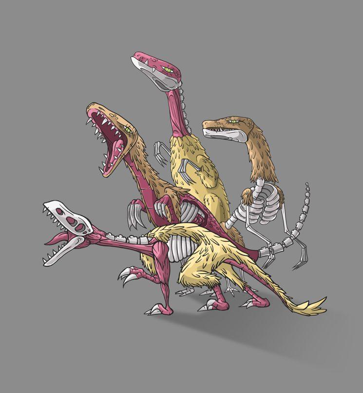 Raptores inspirados en el Deinonychus