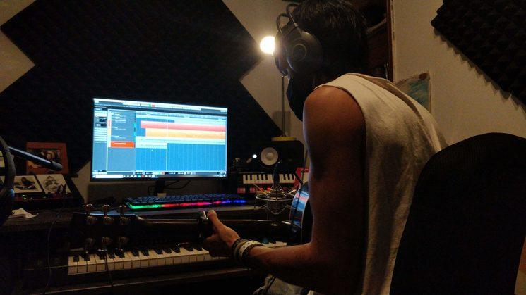 Fran Mariscal en la grabación del disco