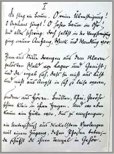 Manuscript from Sonnet to Orpheus. Reiner Maria Rilke