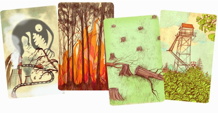 Cartas de contaminación, fuego, deforestación y caseta de vigilancia