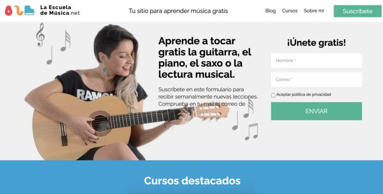 La web de La escuela de música actualmente